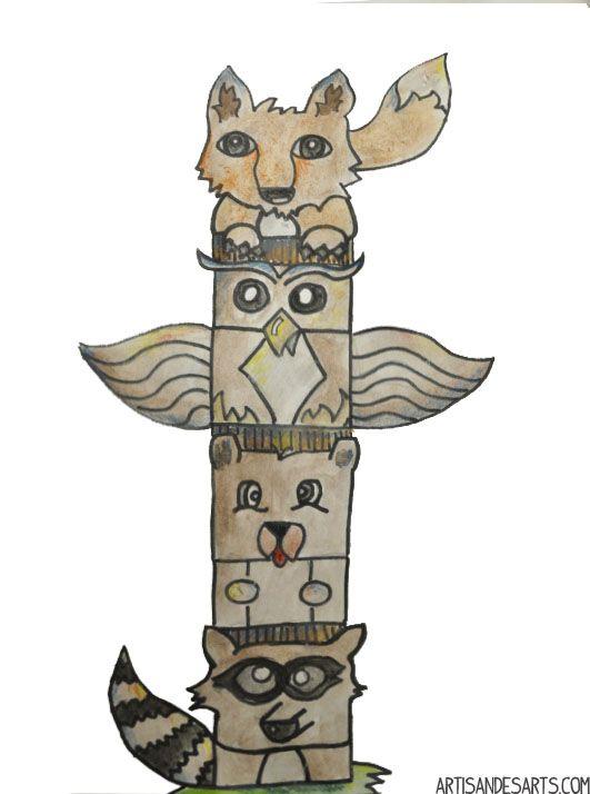 Artisan Des Arts Grade 5 6 Totem Poles Totem Pole Art Totem Pole Art