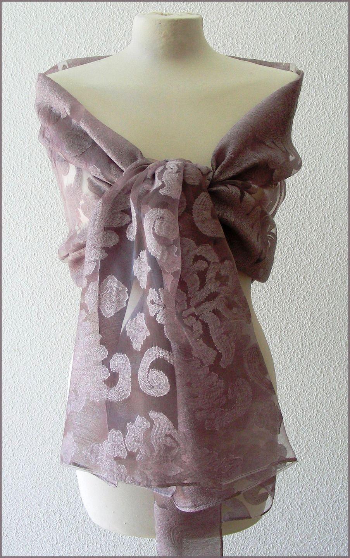 Etole Vieux-Rose Parme - etole de mariage- écharpe-foulard - Soie ... 52c851aa825