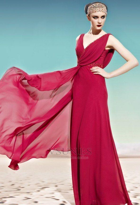 Vestido+de+noche+Otoño+rubí+Blusa+plisada+Gasa+Espalda+medio+ ...