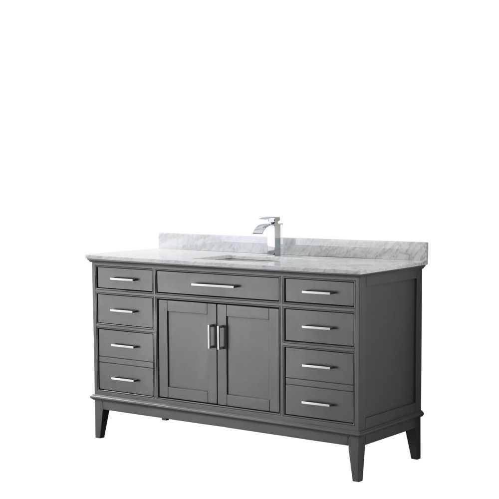 Margate 60 Inch Single Vanity In Dark Gray Carrara Marble Top