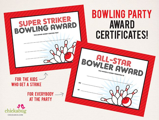 Bowling Party Award Certificates