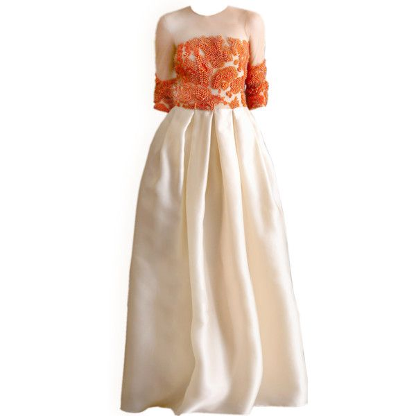 satinee.polyvore.com - Naeem Kham Resort 2015 ❤ liked on Polyvore featuring dresses, gowns, satinee, beige evening dresses, beige dress and beige gown