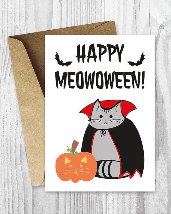 Printable Halloween Card, Happy Meowoween Halloween Cat Printable