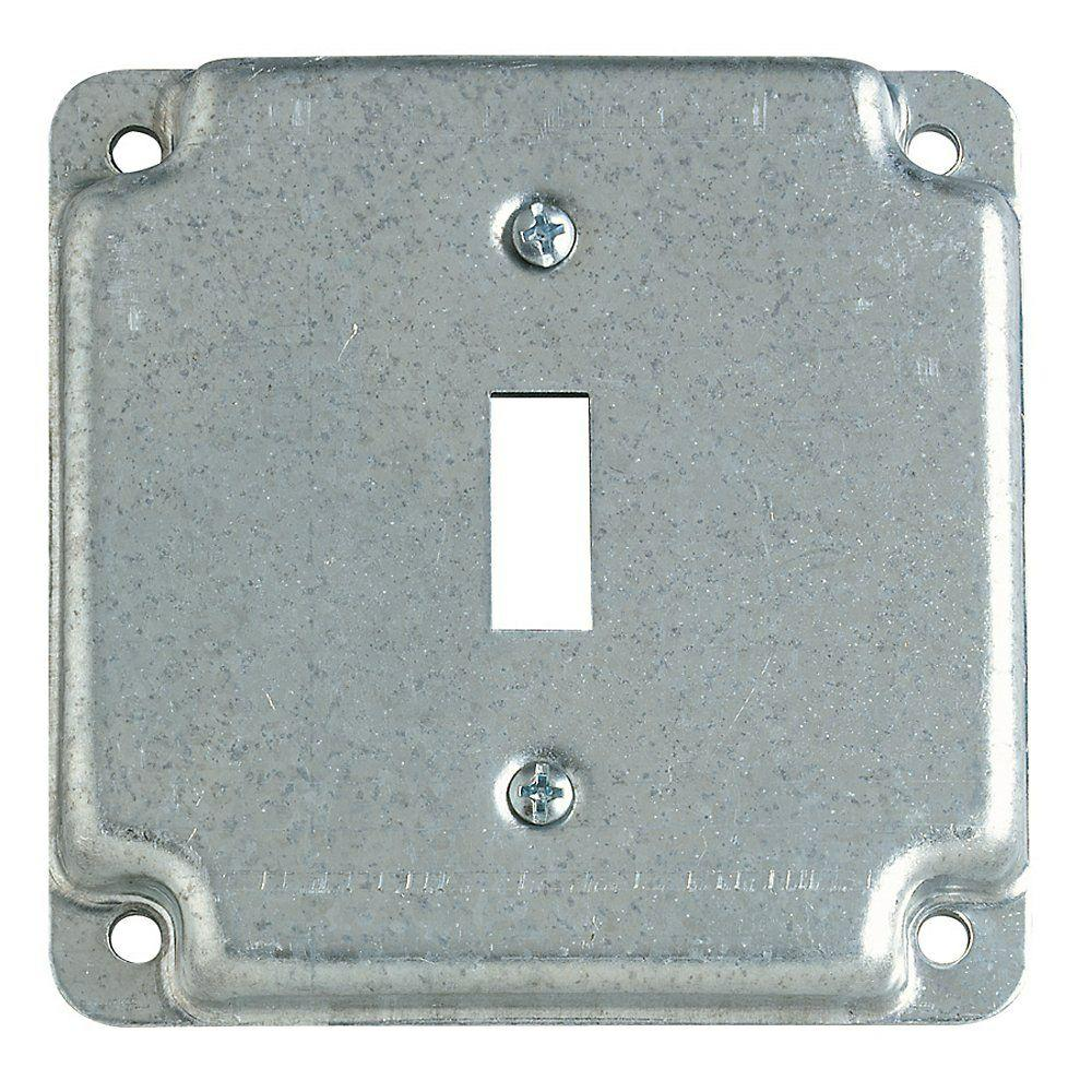 Steel City 2 Gang 4 In Square Metal Electrical Box Cover For Single Toggle Switch Receptacle Case Of 10 Metal Electrical Box Covered Boxes Light Switch Covers