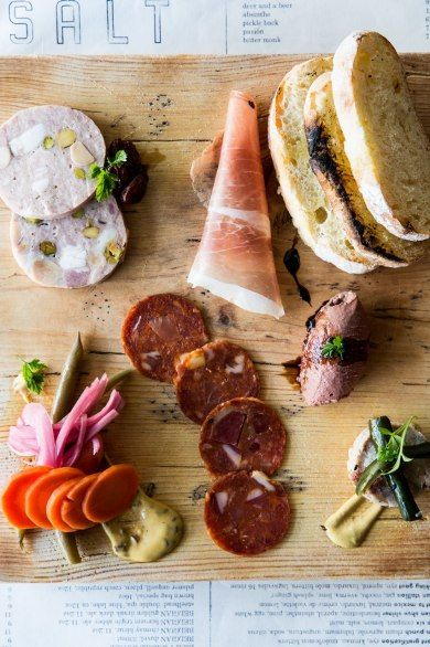 The charcuterie at Salt Bar & Kitchen consists of meat sourced from the Shinsato Pig Farm on windward Oahu.