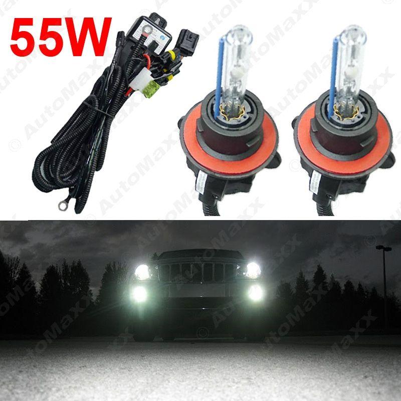 55W Car 12V AC HID Bulbs Xenon Headlight Lamp H13 9008 Hi Lo Bi