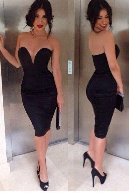 2019 New Arrival Sweetheart Cocktail Dresses Sheath Spandex Knee Length BUKP4F69CAG #blacksleevelessdress