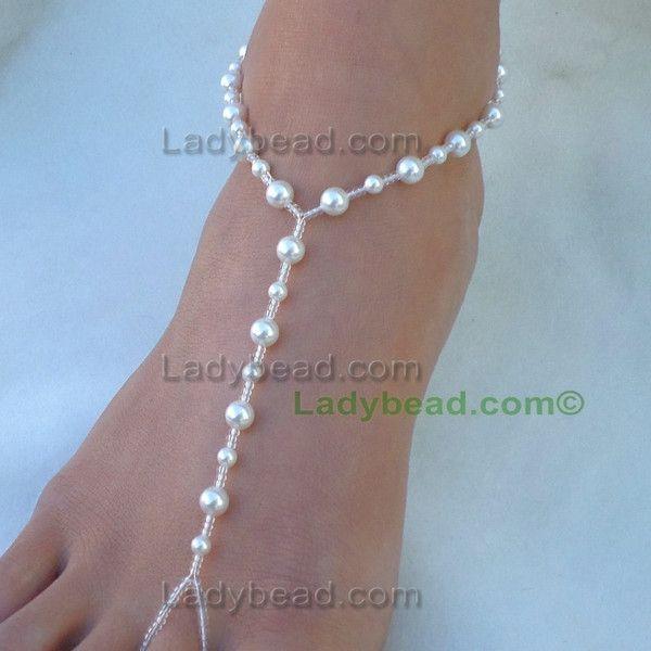 Swarovski Pearl Jewelry Bracelet Barefoot Sandal Anklet DIY
