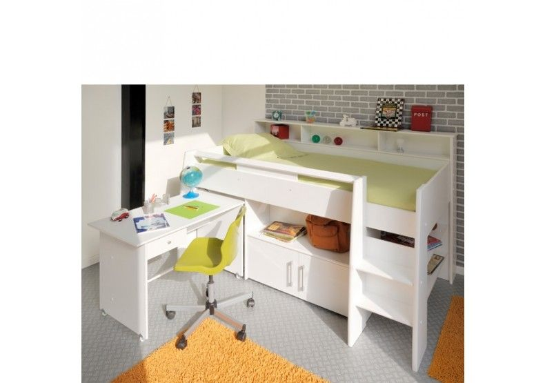 Veno White Storage Mid Sleeper Bed With Desk Designs