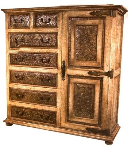 Handsome Beige Armoire W_Copper Panels. h1Handsome Beige Armoire W_Copper Panels_h1This provocative washed beige armoire features hand-painted scroll designs and hand-hammered copper panels on each of the 7 drawers plus 2 panels on the door. Hand-crafted in Per.. . See More Armoires at http://www.ourgreatshop.com/Armoires-C1067.aspx
