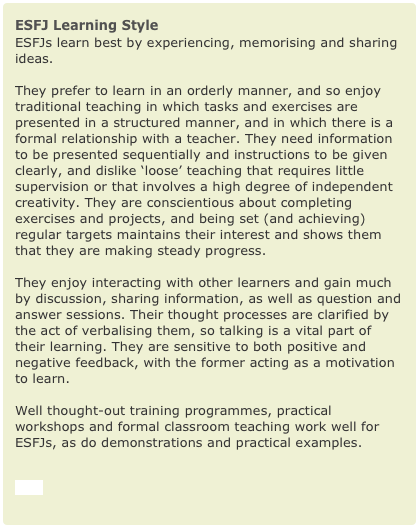 ESFJ Learning Style- go to site for other types