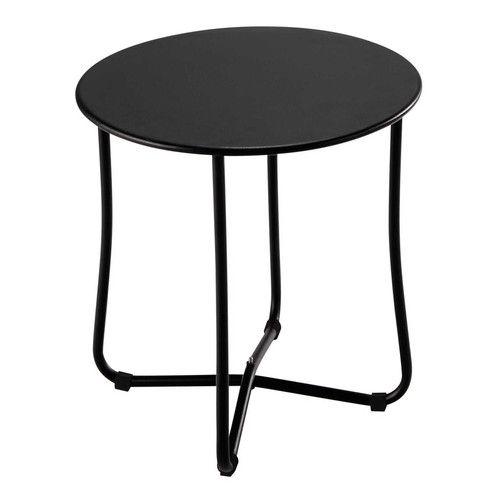 Mesita De Jardin Negra De Metal O 45 Cm Capsule Table De Chevet Bout De Canape Canape Jardin