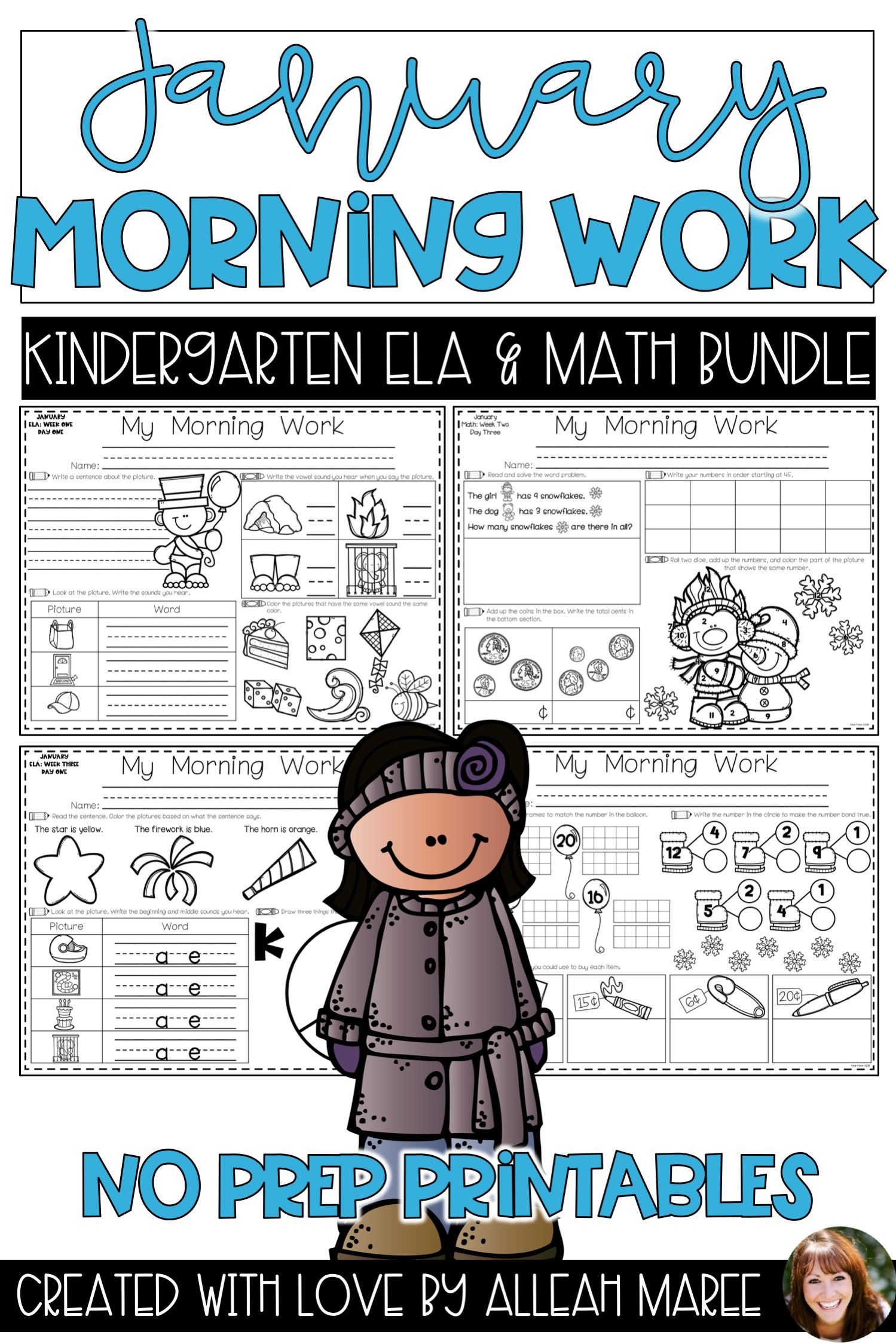 Kindergarten Math And Literacy Morning Work Bundle
