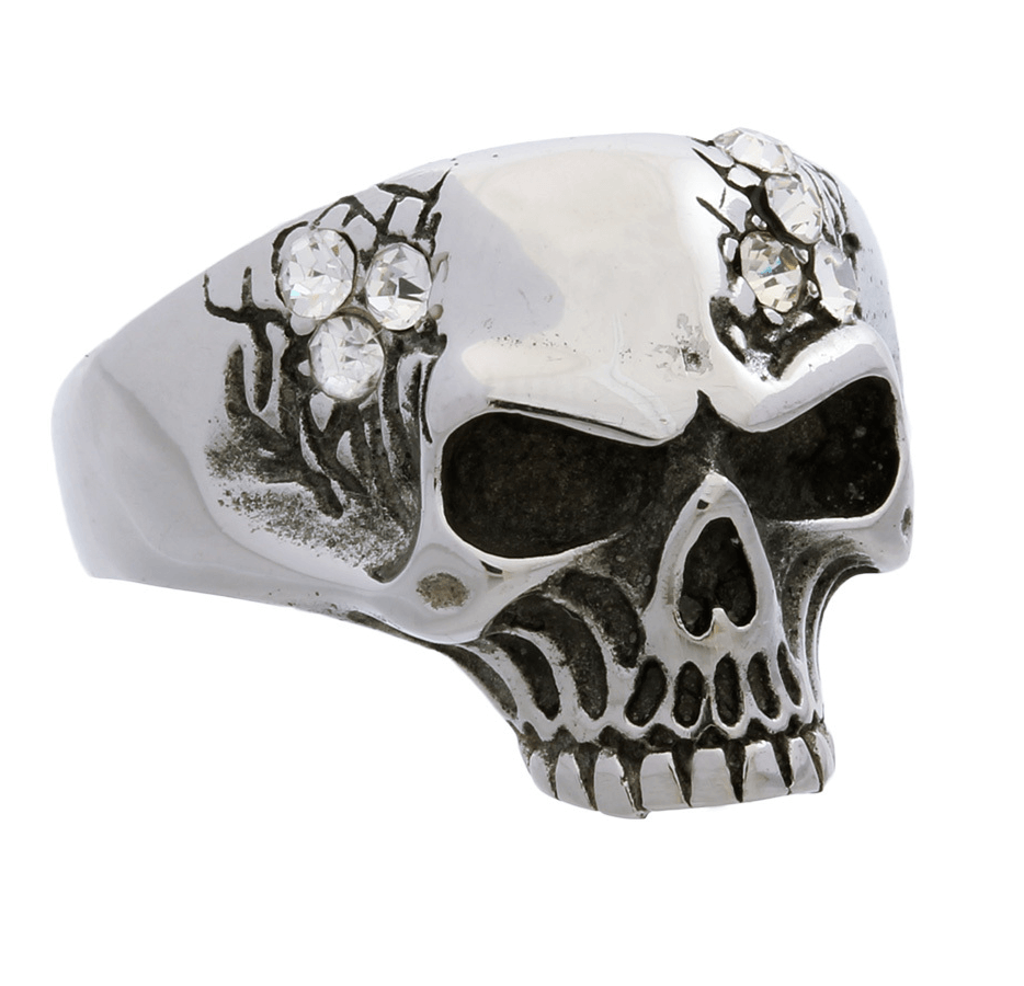 Goldia Sterling Silver Antiqued Skull Ring