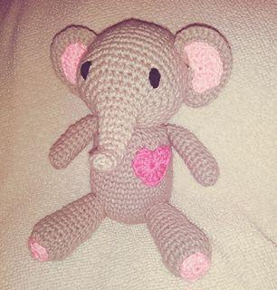 Elephant with a heart pattern by MoonlitShop Patterns #crochetelephantpattern
