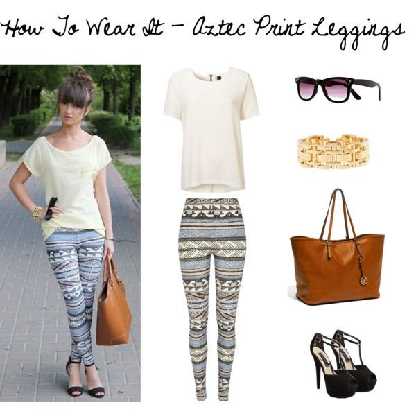 How to wear it - Aztec Leggings by ashleyfiggis on Polyvore featuring River Island, Steve Madden, MICHAEL Michael Kors, J.Crew, leggings, summer, cute, print, aztec and ideas