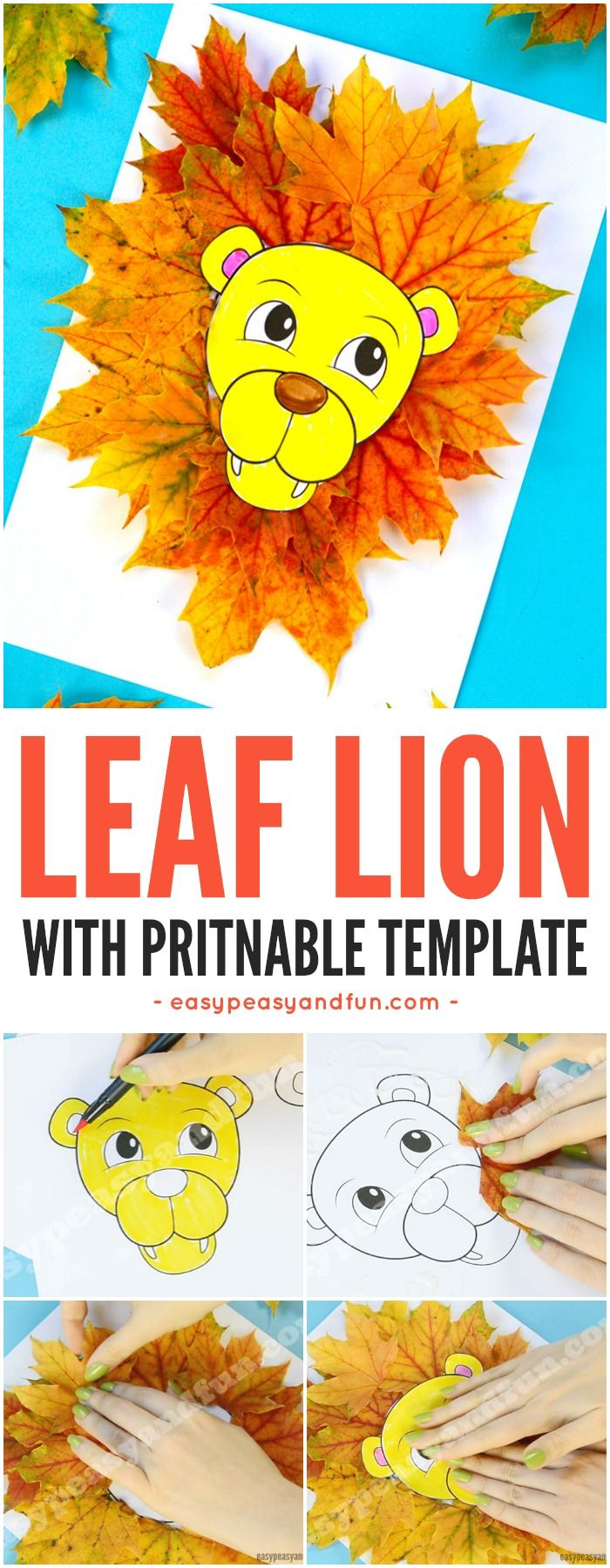 Lion Leaf Craft For Kids With Printable Template Fun Fall Activity In Classroom Or At Home