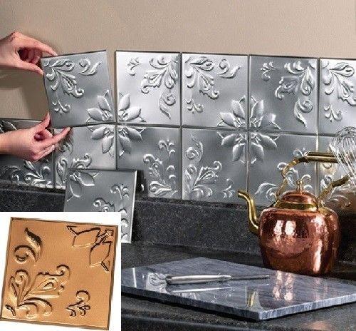 Metal Tin Silver Copper Peel And Stick Kitchen Backsplash Bathroom Wall Tiles Bathroom Backsplash Trendy Kitchen Backsplash Backsplash Bathroom Wall
