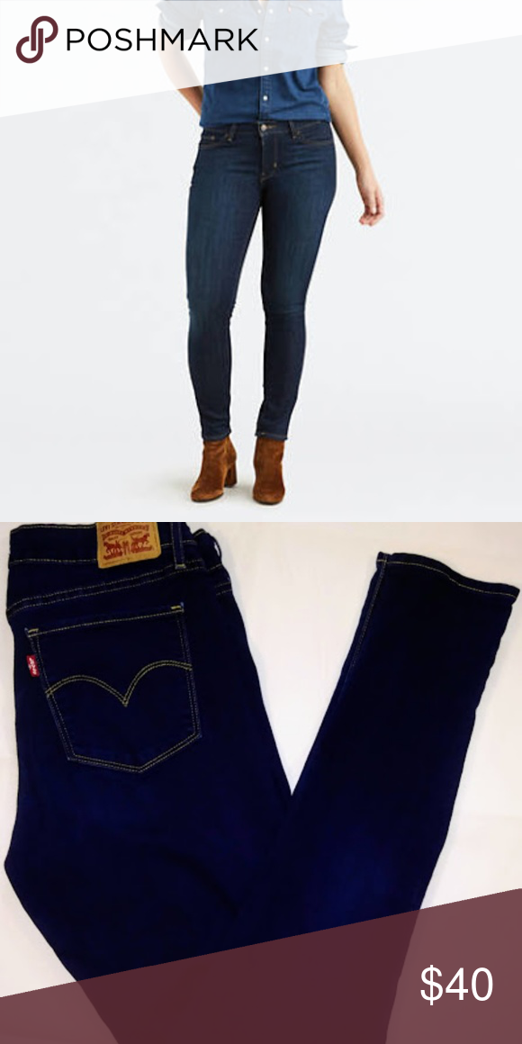 Levi's 711 Skinny Stretch Dark Wash Jeans Mid Rise super