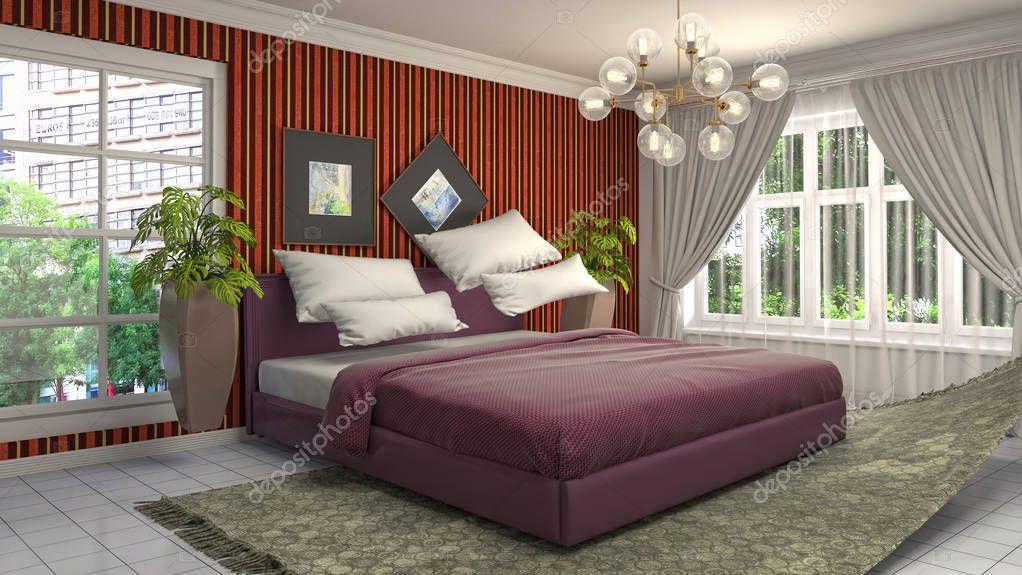 Zero Gravity Bed Hovering In Bedroom 3d Illustration Stock