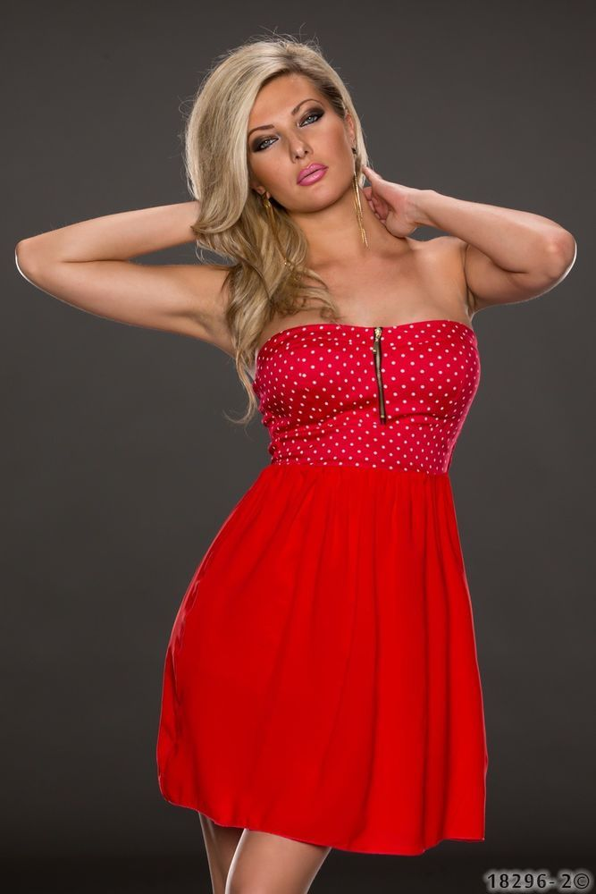 sexy bandeau kleid mit polkadots gr e 36 rockabilly rot. Black Bedroom Furniture Sets. Home Design Ideas