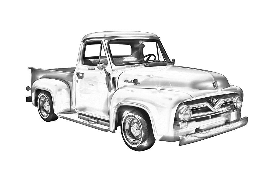1955 F100 Ford Pickup Truck Illustration Photograph By Keith Webber Jr Ford Pickup Trucks Pickup Trucks Truck Drawing