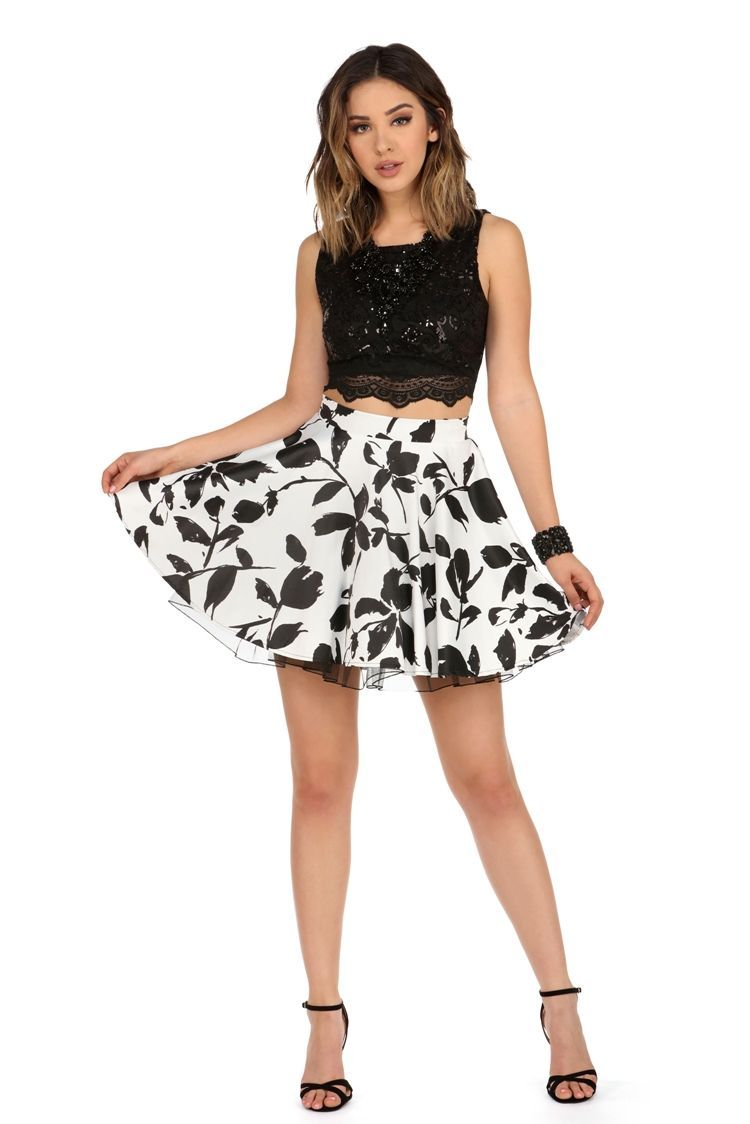Mindy black floral two piece dress windsorcloud prom uc