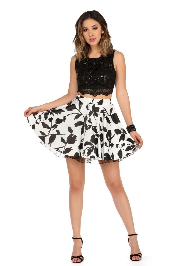 Mindy black floral two piece dress windsorcloud prom uc