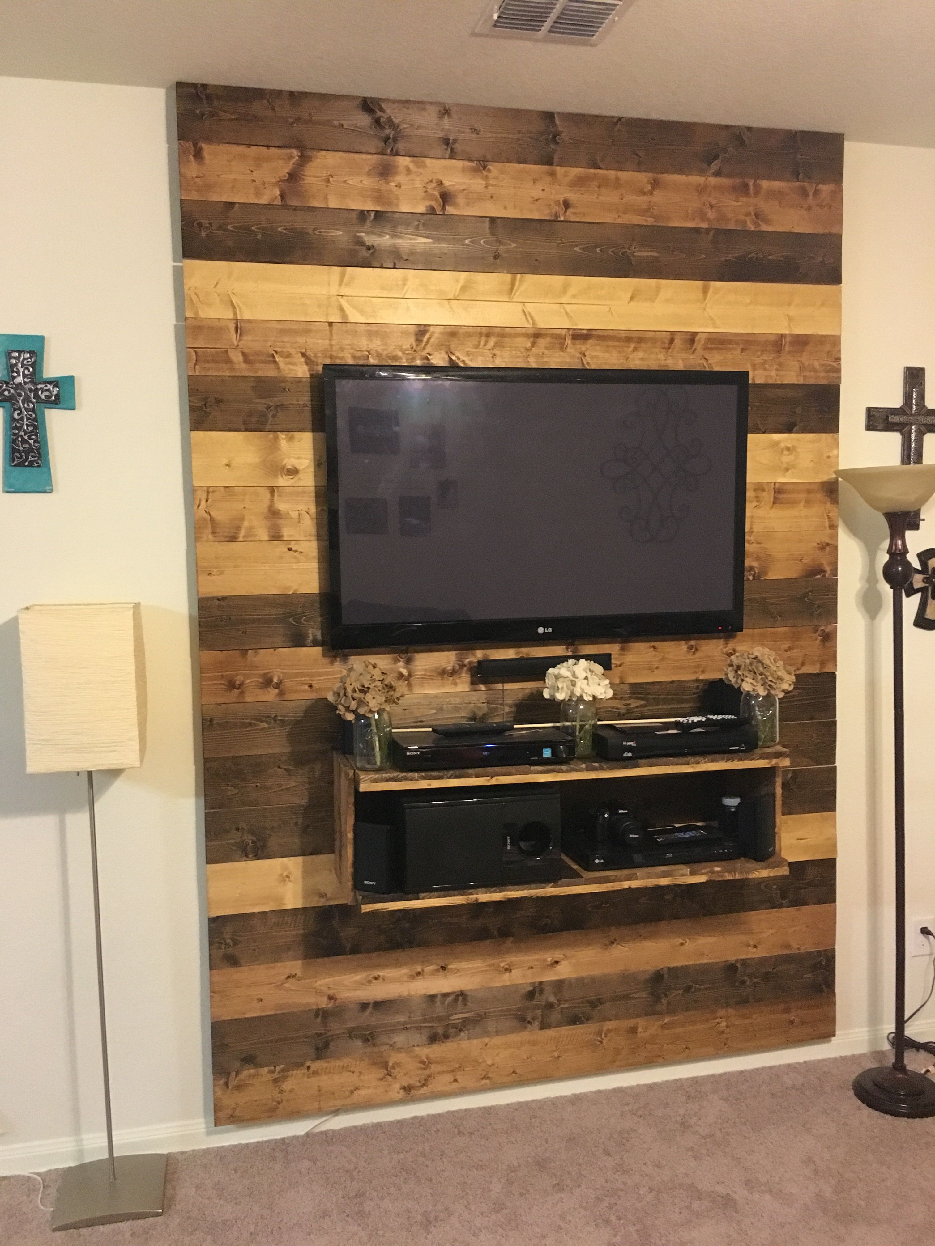 Tv Wall I Made From 1x6 Boards In 2019 Tv Wall Decor