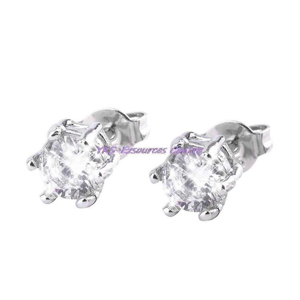1 Pair Rhinestone Cubic Crystal Stud Earring Silver Earrings