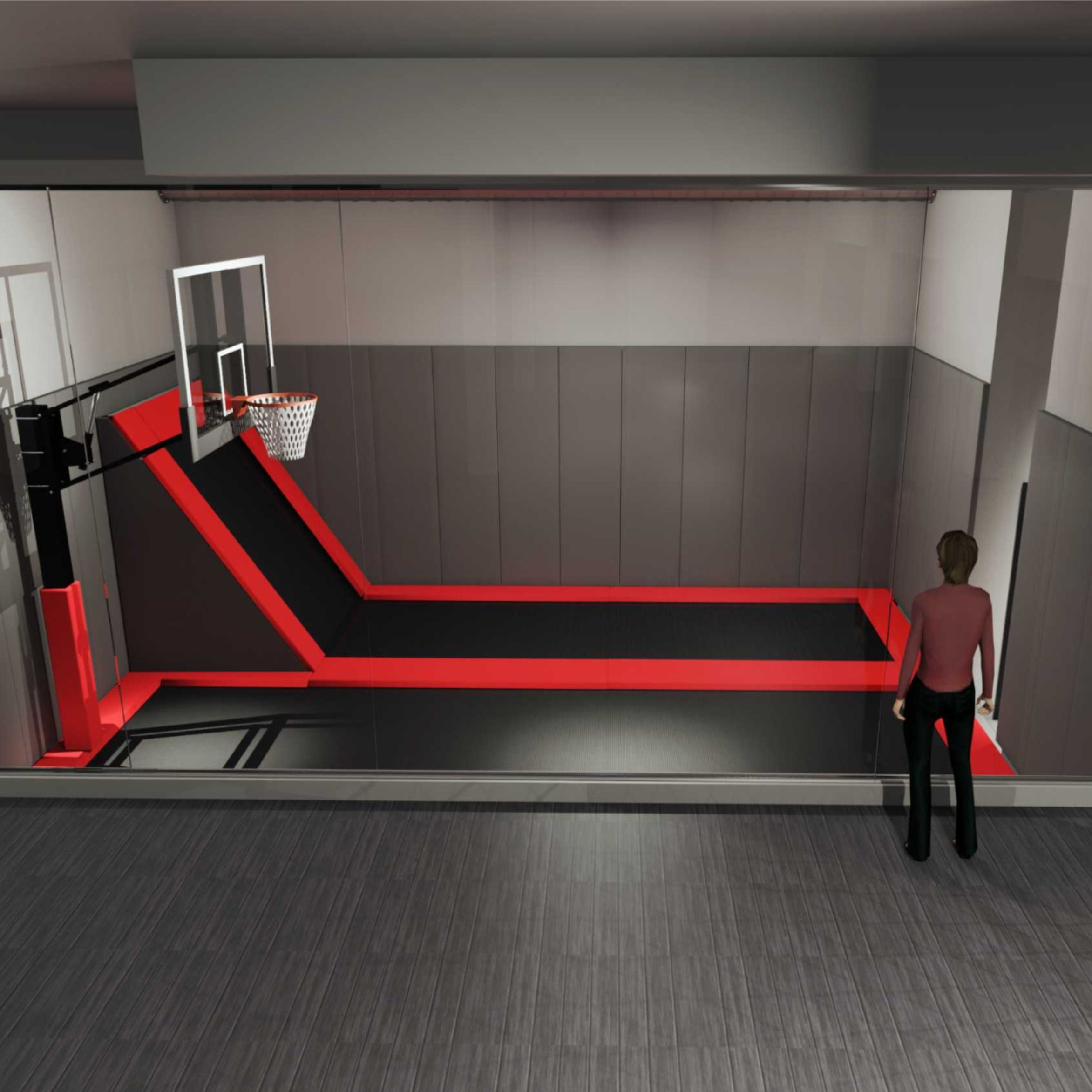 Step Up Your Trampoline Game With An Indoor Trampoline Basketball Court In Your Recreation Room Trampoline Room Indoor Trampoline Dream Rooms