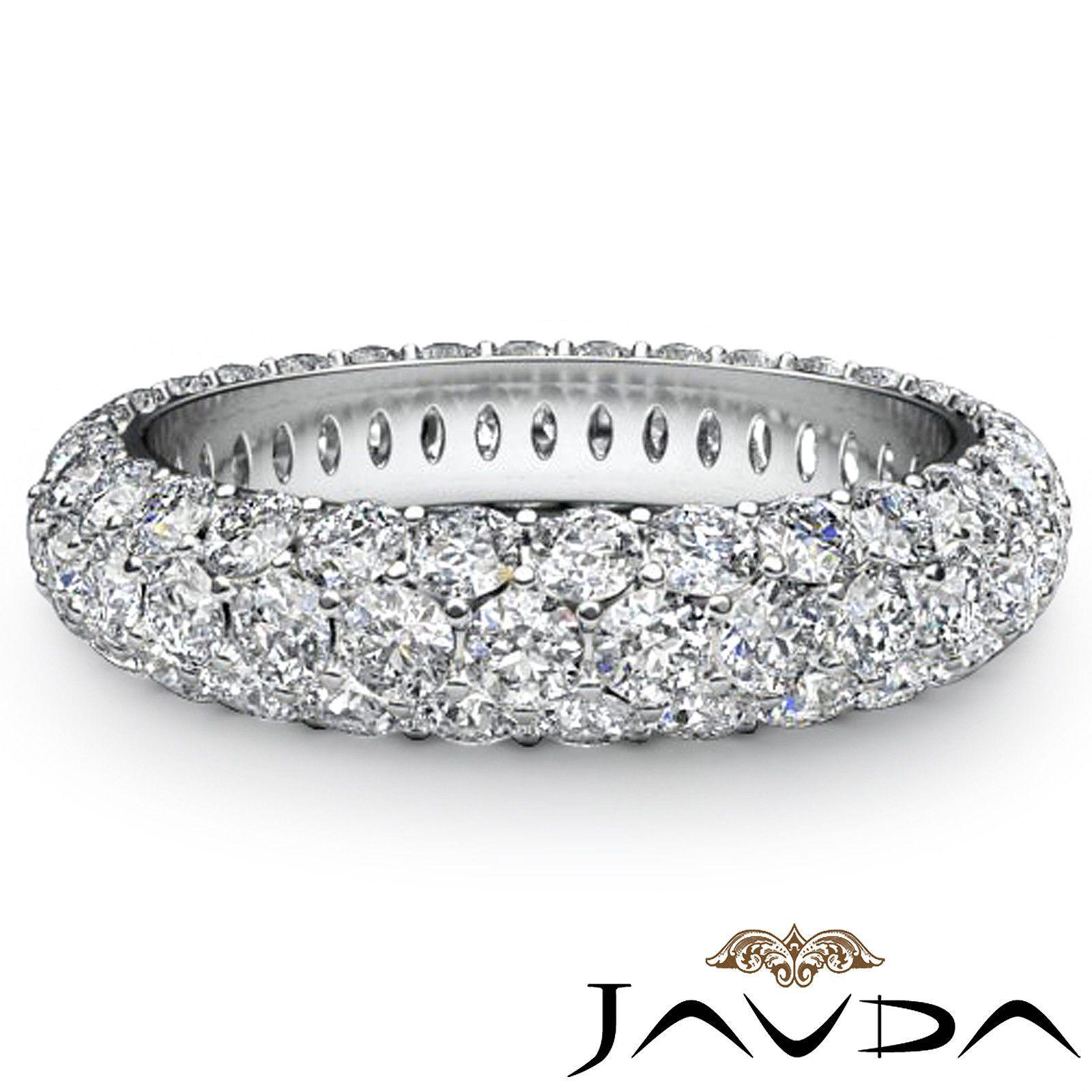 3 Row Diamond Engagement Womens Eternity Ring Wedding Band