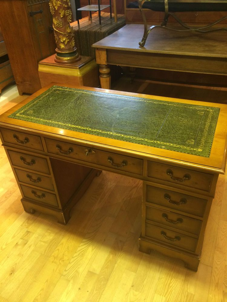 Reproduction Yew & Leather Writing Desk in Antiques, Antique Furniture, Desks | eBay