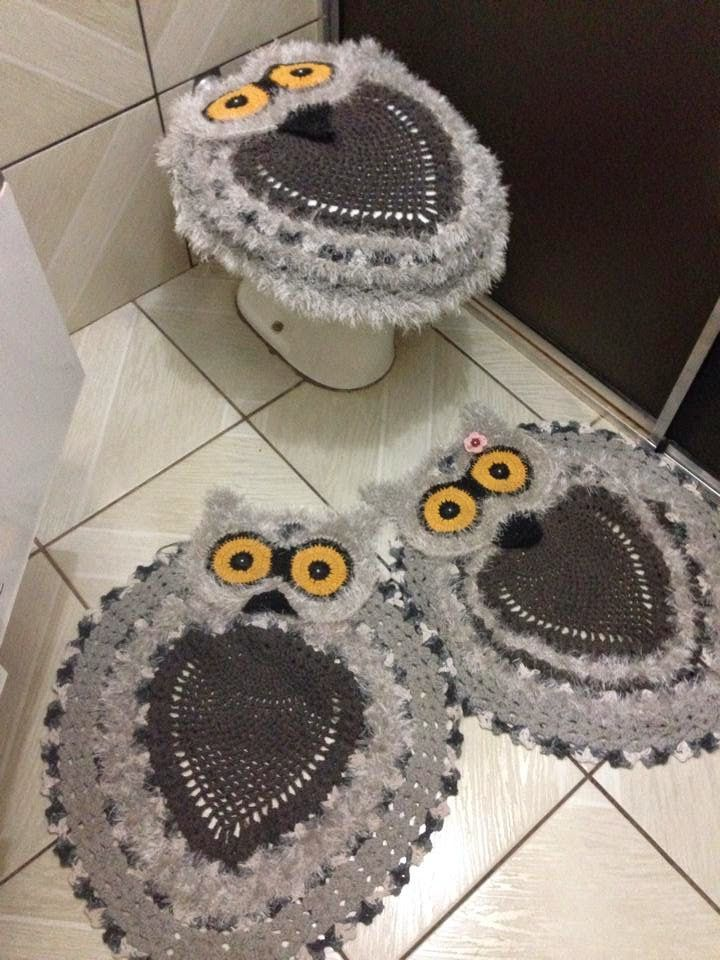 Jogo De Banheiro De Gato Croche : Especialidade em croche jogo de banheiro corujas