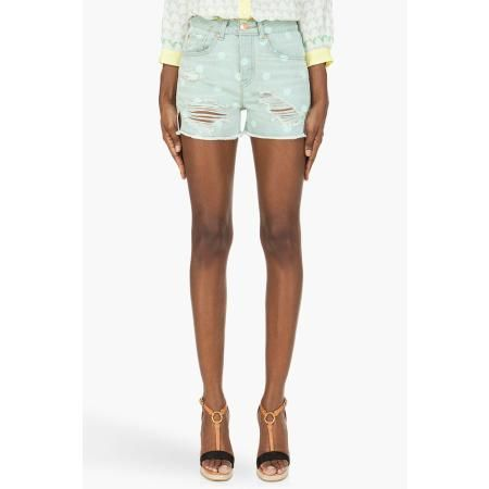 MARC BY MARC JACOBS PALE MINT CUT OFF HIGH-WAISTED BOY SHORTS