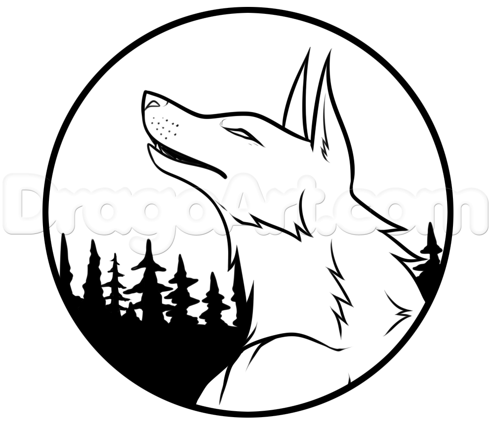 How To Draw A Wolf Moon Step 6