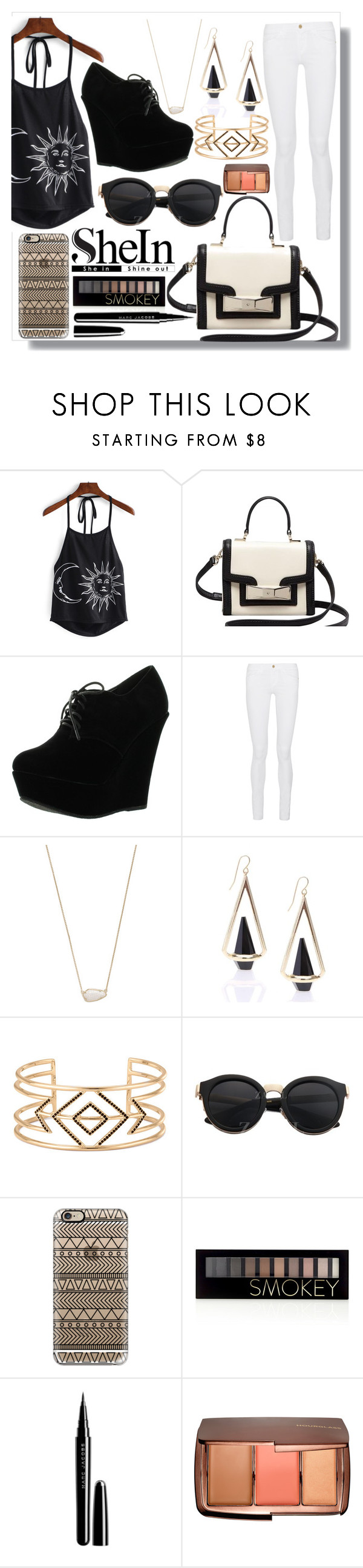"""""""She in Halter top contest"""" by glitter-n-sparkles ❤ liked on Polyvore featuring Kate Spade, Forever Link, Frame Denim, Kendra Scott, Stella & Dot, Casetify, Forever 21, Marc Jacobs and Hourglass Cosmetics"""