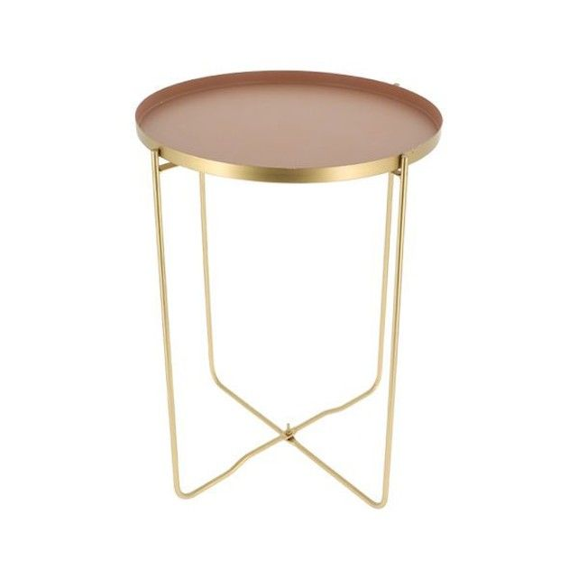 Table D Appoint Elisa Rose Et Metal Dore Rose Compactor La Redoute Table D Appoint Table Basse Design Table Basse Verre