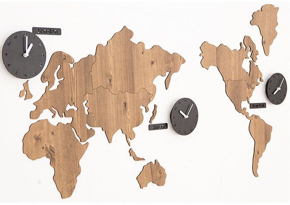 Wooden world map with 3 country clocks puzzle assemble decor world wooden world map with 3 country clocks puzzle assemble decor world time diy large wall globe maps wood countries unique style analog design gumiabroncs Images