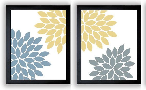 Flower Print Yellow Blue Grey Gray Chrysanthemum Flowers Art Print ...