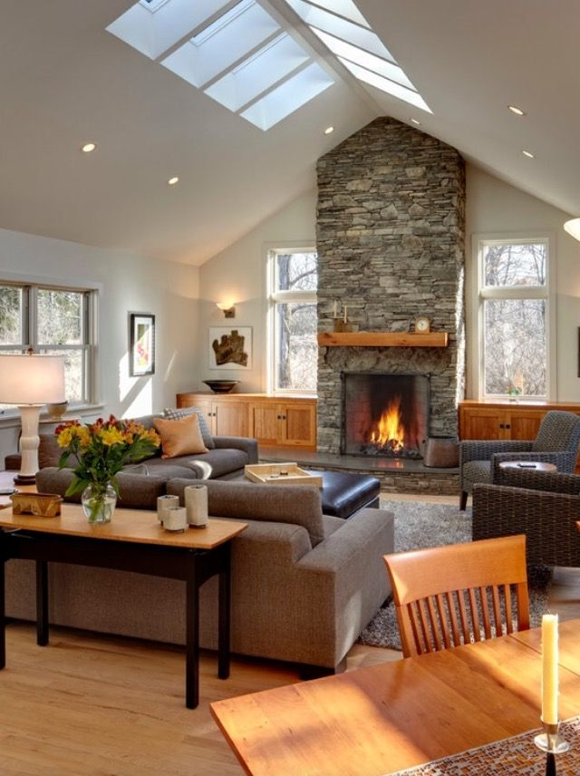 Family Room Portion Of Addition Vaulted Ceiling Living Room Ceiling Lights Living Room Livingroom Layout #vaulted #ceiling #living #room #and #kitchen