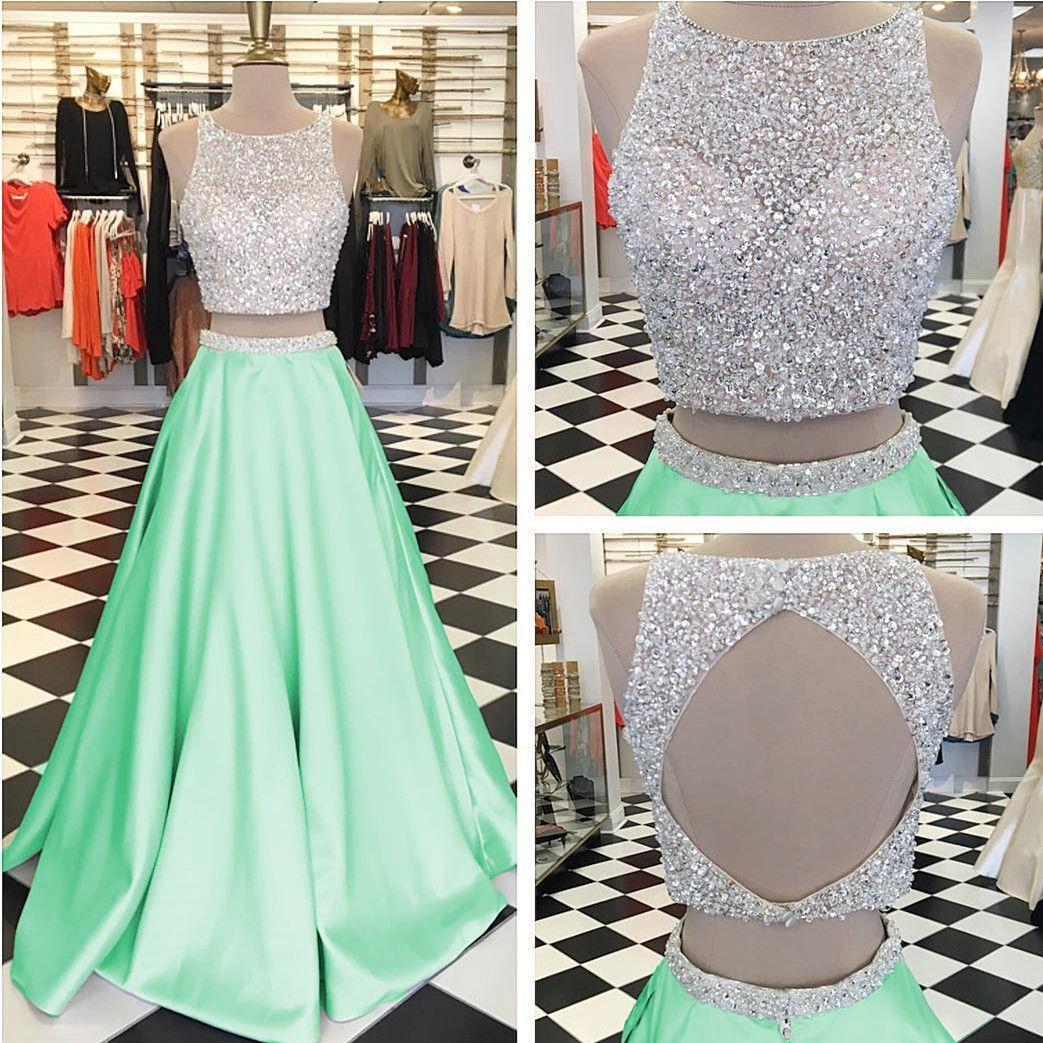 Mint Green Prom Dress Two Piece Prom Dresses Sequins Beaded Dress Keyhole Back Dress Prom Dress Ball Gowns 2017 Prom Dresses Ball Gown Ball Dresses Evening Dresses Prom [ 1043 x 1043 Pixel ]