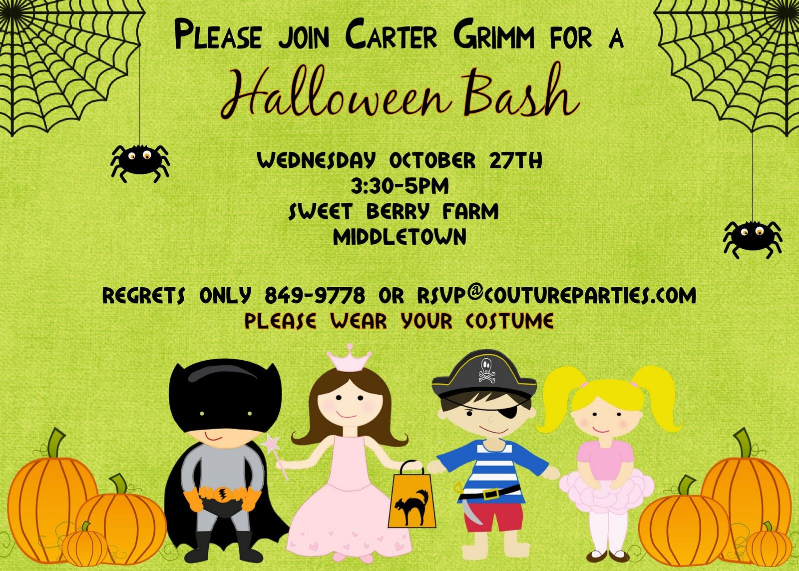 Kids Halloween Birthday Invitations | My Birthday | Pinterest