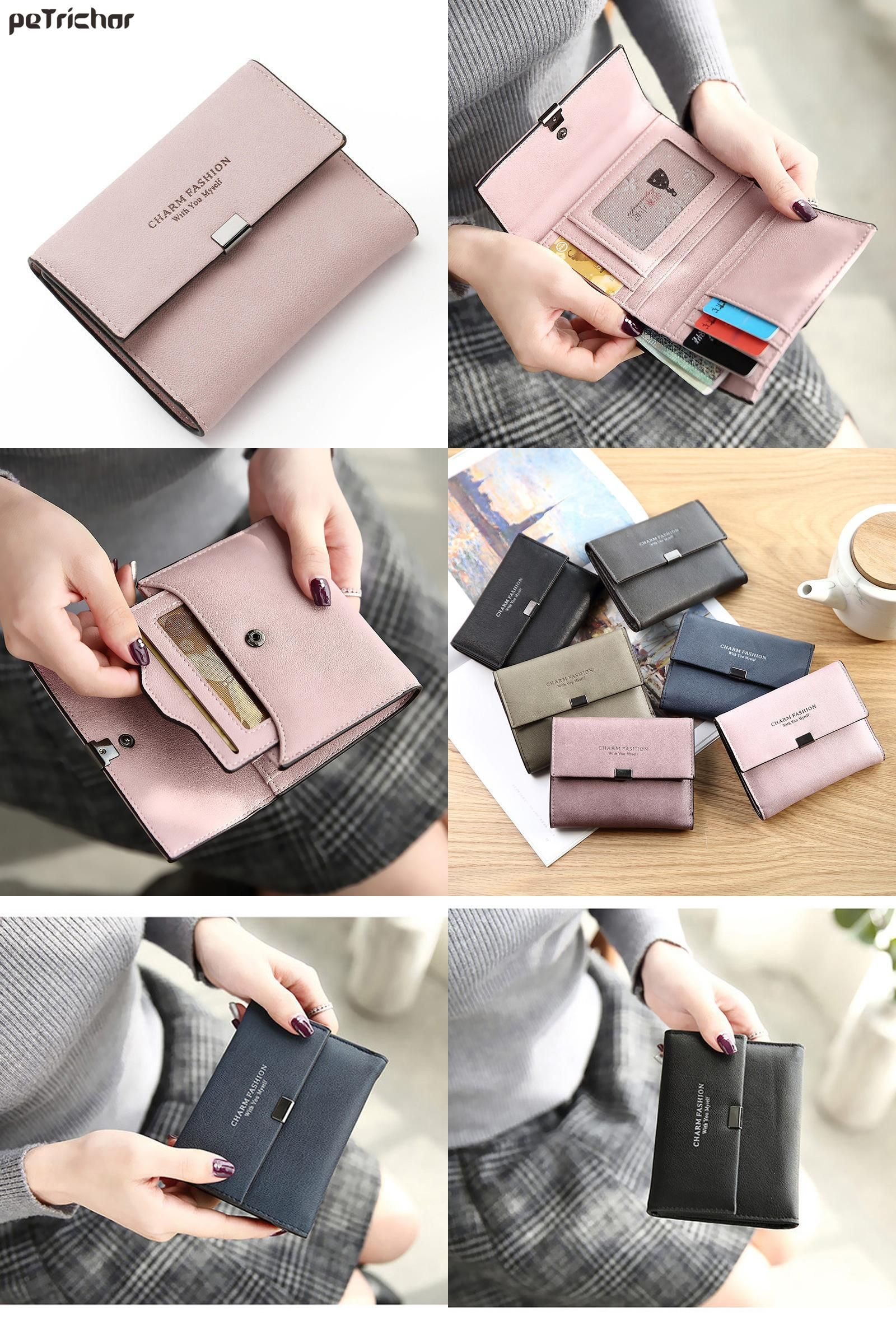 [Visit to Buy] New Korean Style Female Card Holder Wallets