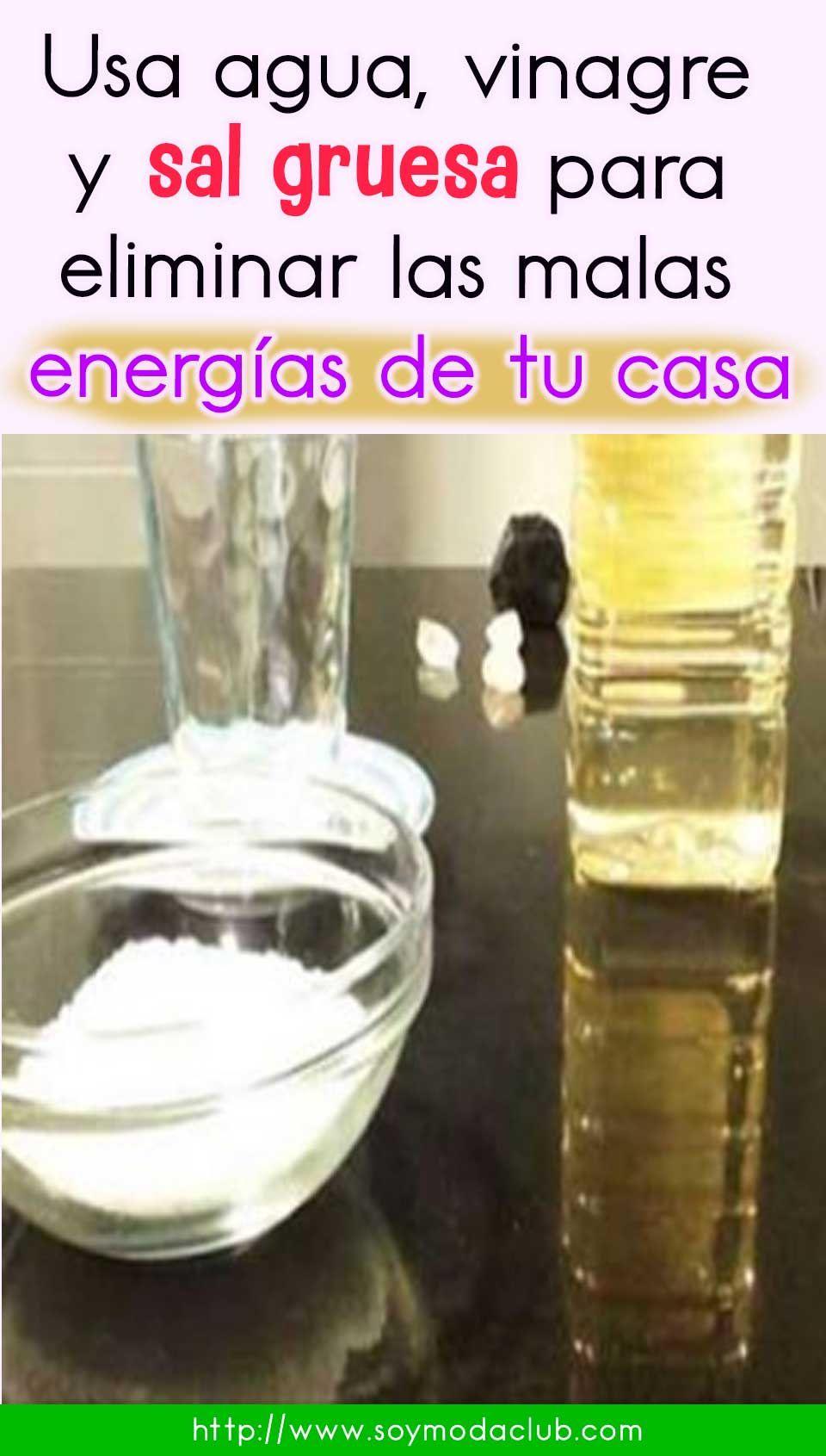 Usa Agua Vinagre Y Sal Gruesa Para Eliminar Las Malas Energías De Tu Casa Water Bottle Plastic Water Bottle Bottle