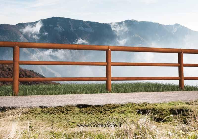 Steccato Per Giardino : Staccionata cortina in acciaio corten adatta per delimitare