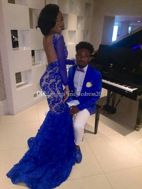 c21f1971d6 Black Girl 2017 Royal Blue Lace Prom Evening Dresses Mermaid Bateau  Illusion Long Sleeves Vestidos De Fiesta Formal Evening Gowns Arabic Party Prom  Dresses ...