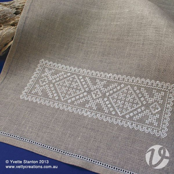 Sardinian whitework hand towel class with Yvette Stanton. This handtowel is from my new book Sardinian Knotted Embroidery: Whitework from Teulada. The embroidery style is called Punt 'e Nù, and is from the town of Teulada, Sardinia, Italy. It features a design using traditional motifs, worked in a simple knotted stitch. The front end of the towel's hem is worked with a peahole hemstitch. Worked on 28 count linen. Experience with counted embroidery is recommended. #handtowels