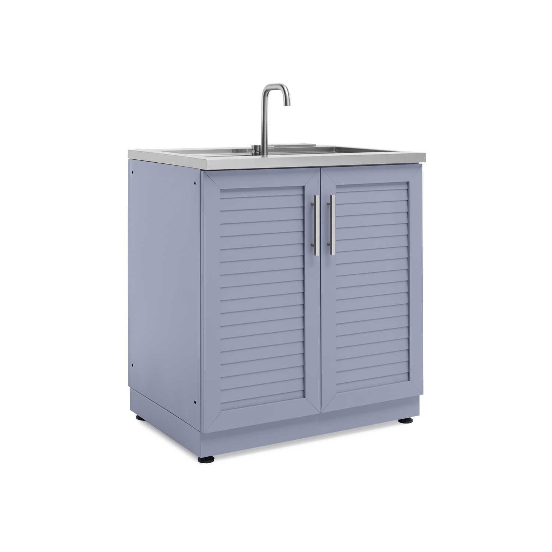 Newage Outdoor Kitchen 32 Inch Aluminum Sink In Coastal Gray 65401 Bbqguys Outdoor Kitchen Cabinets Outdoor Kitchen Outdoor Sinks