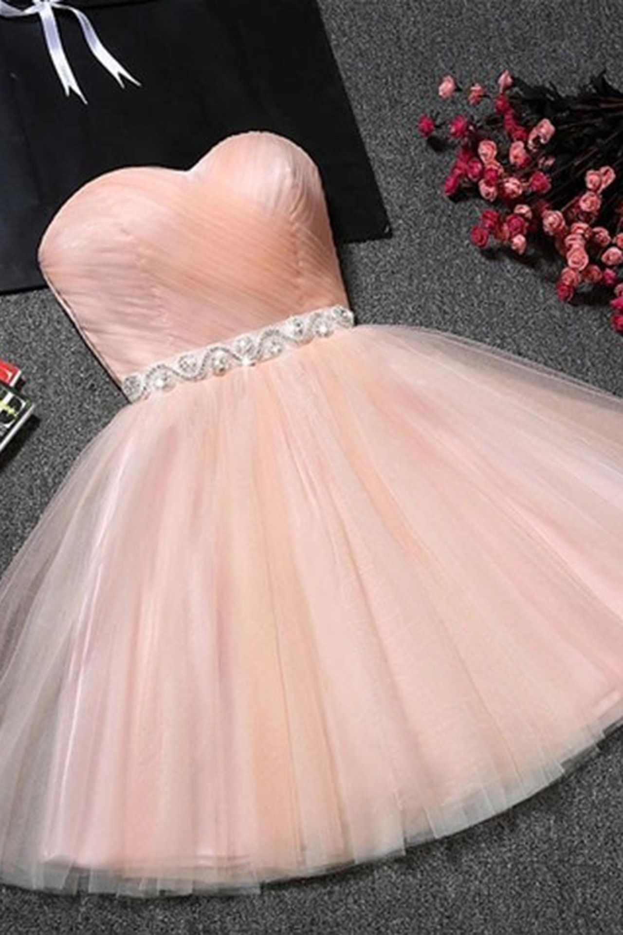 Cute pink tulle sweetheart prom dress short prom dress for teens